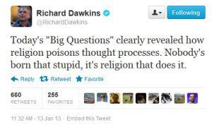 Dawkins: religion makes you stupid